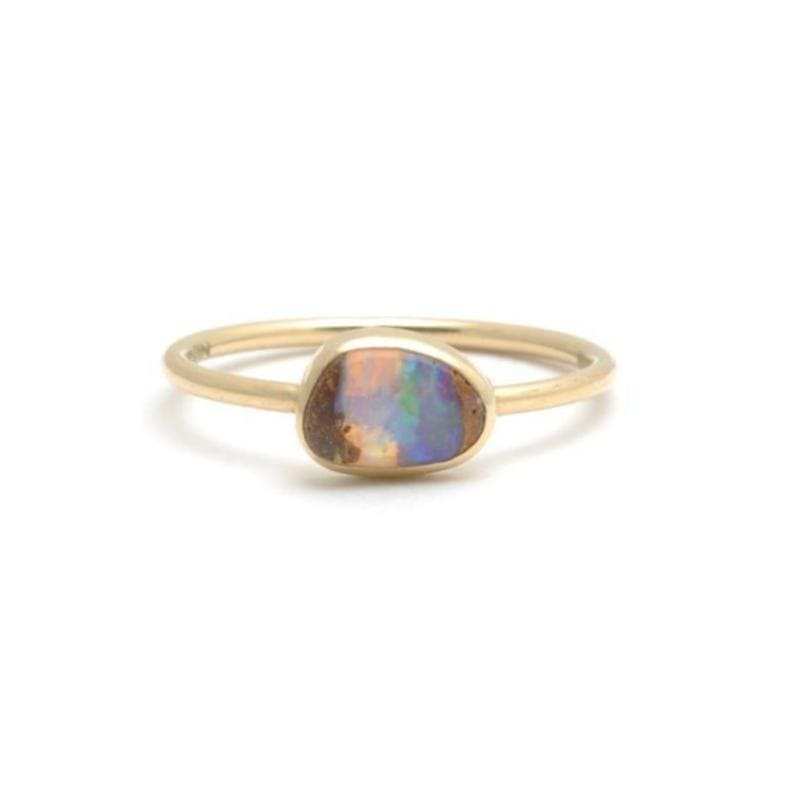 Bezel Set Opal Yellow Gold Stacking Ring - Curated Los Angeles