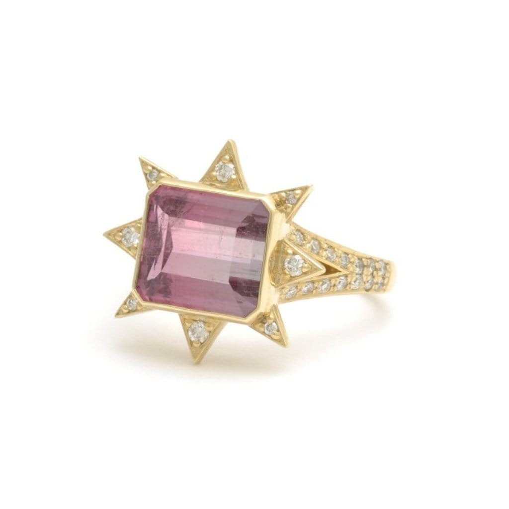 Multi-color Tourmaline Diamond Starburst Cocktail Ring - Curated Los Angeles