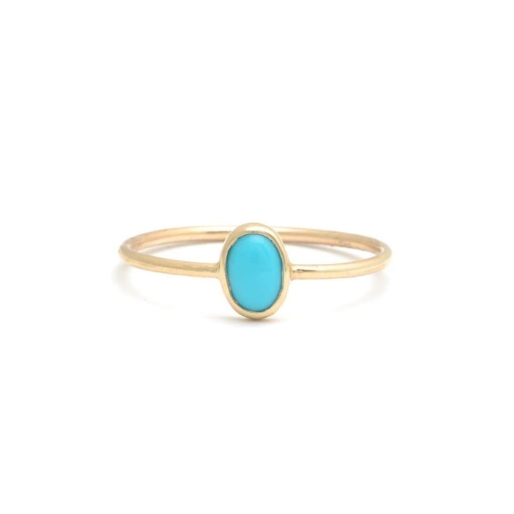 Turquoise Oval Solitaire Gold Bezel Ring - Curated Los Angeles