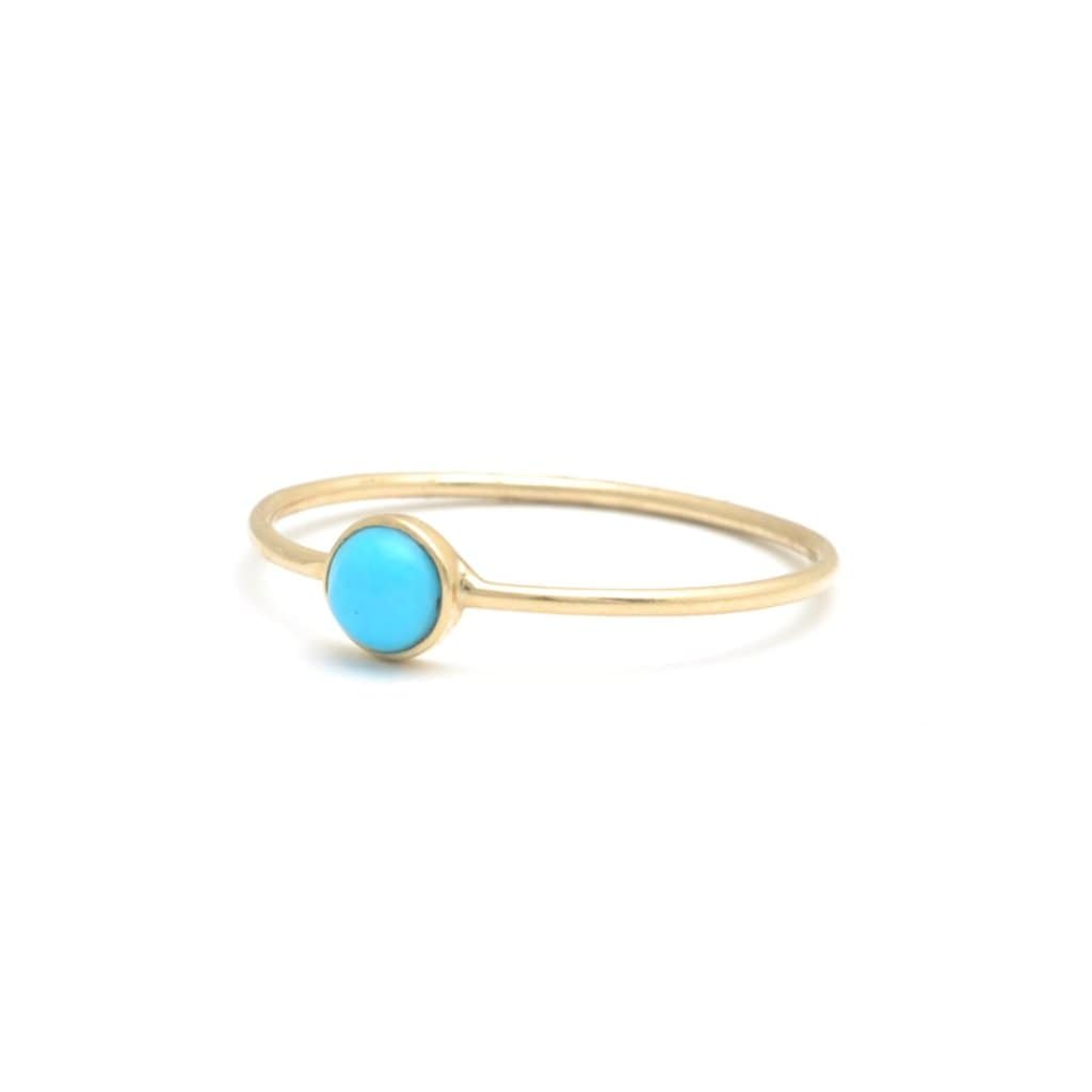 Turquoise Round Solitaire Gold Bezel Ring - Curated Los Angeles