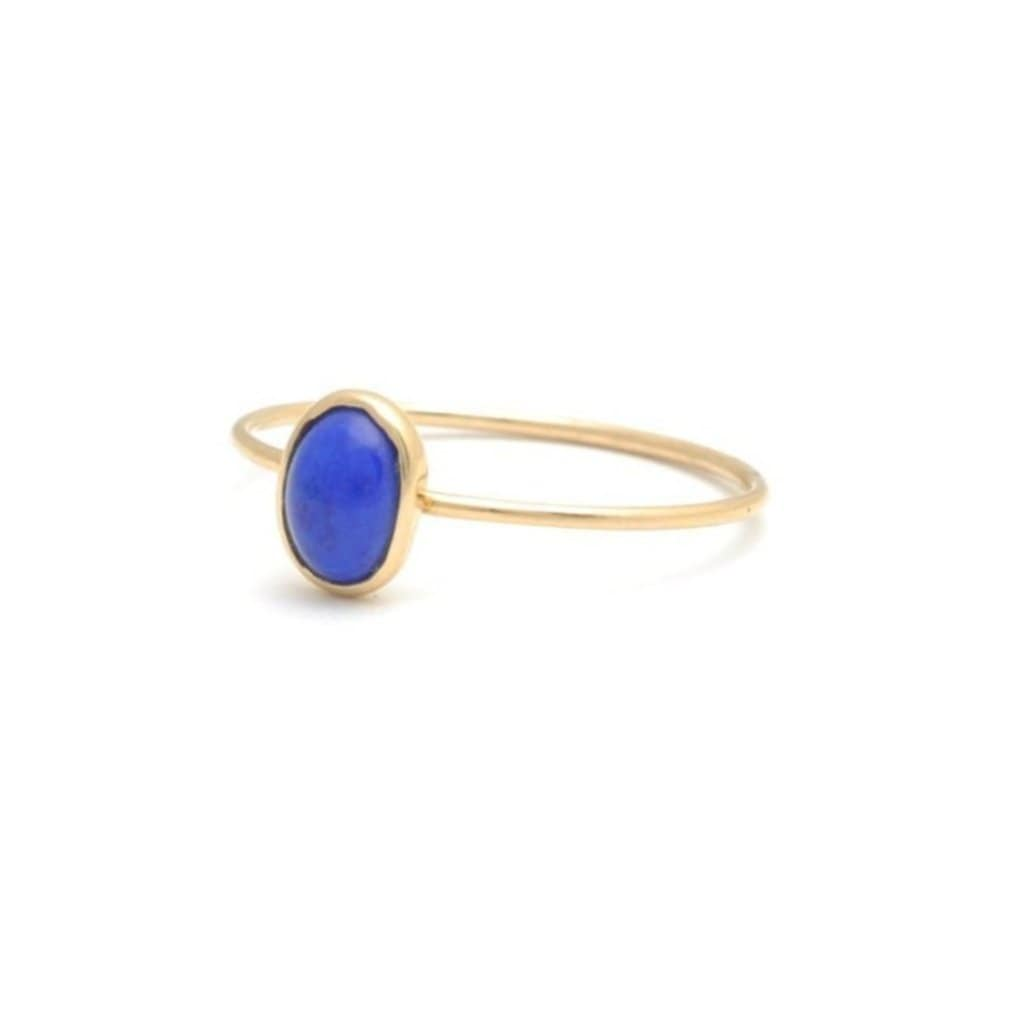Lapis Lazuli Oval Solitaire Gold Bezel Ring - Curated Los Angeles