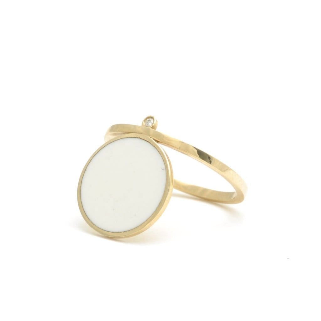 Bindi Large White Dot Enamel and Diamond Ring - Curated Los Angeles