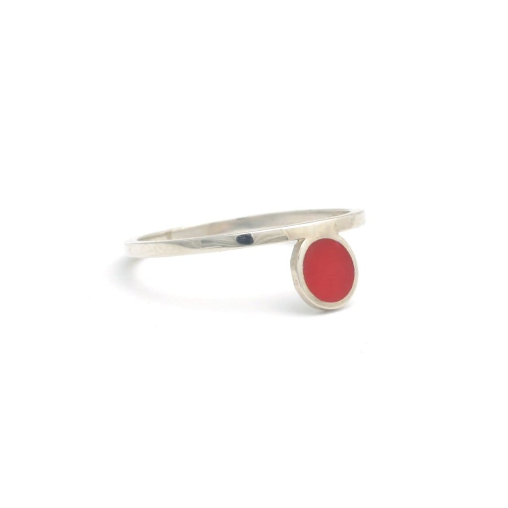 Bindi Mini Red Dot Enamel Silver Ring - Curated Los Angeles