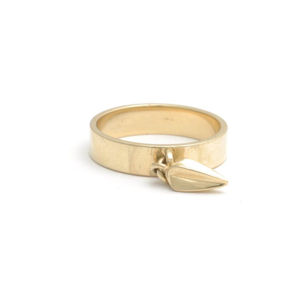 Spear Charm Yellow Gold Ring - Curated Los Angeles