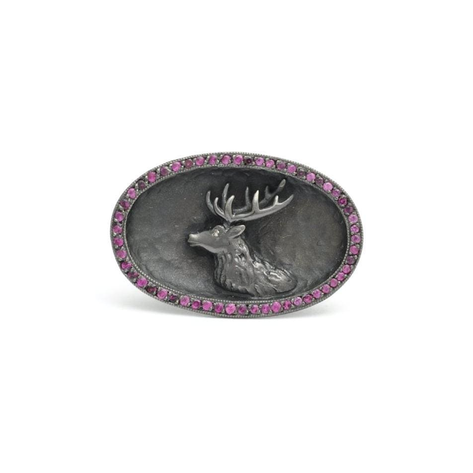 Pink Sapphire Black Rhodium Deer Ring with Diamond Eye - Curated Los Angeles