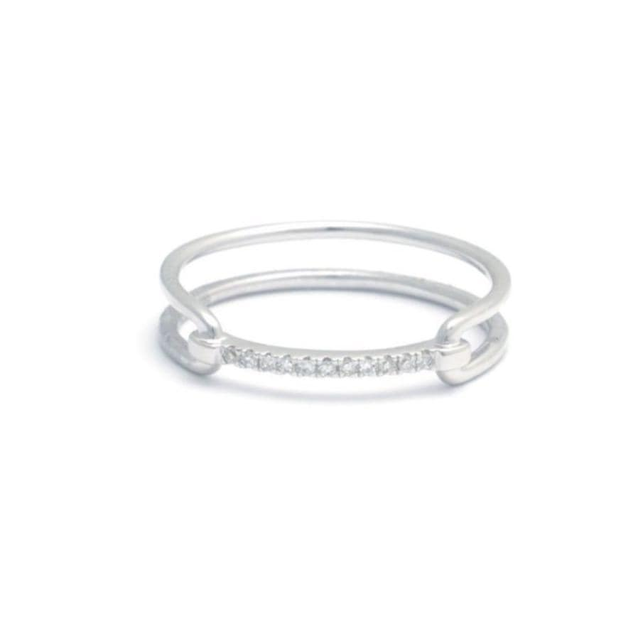 Diamond Bridle Bit White Gold Double Band Ring - Curated Los Angeles