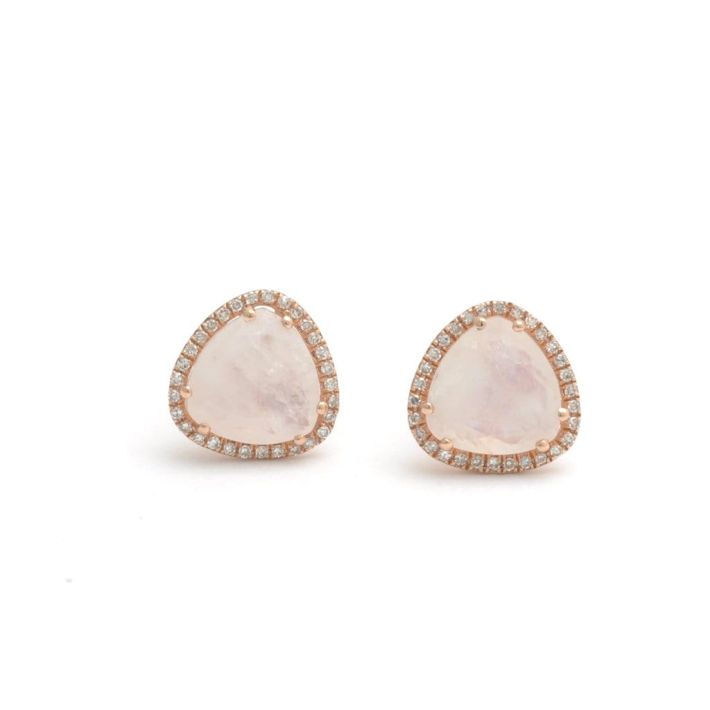 Rose Cut Moonstone Diamond Halo Earrings - Curated Los Angeles