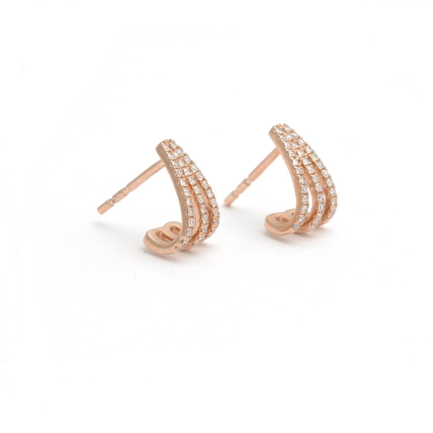 Triple Row Diamond Rose Gold Earrings - Curated Los Angeles