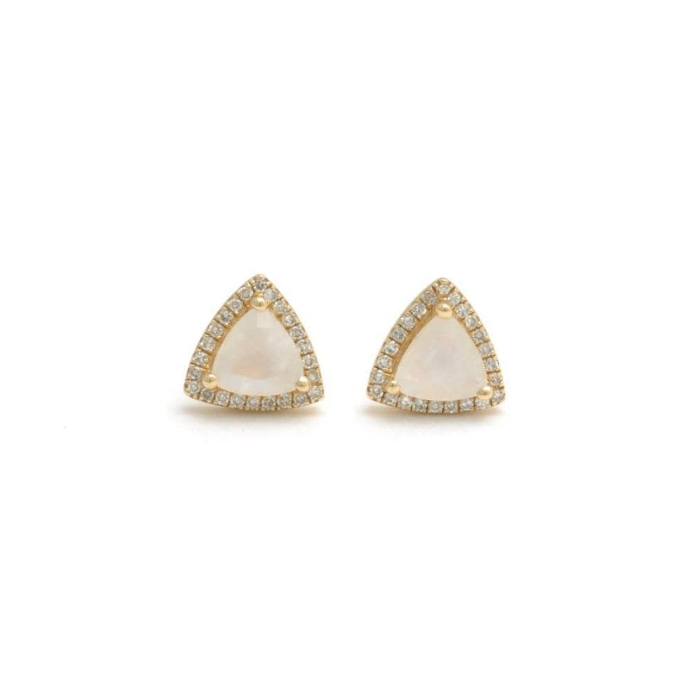 Trillion Moonstone Diamond Halo Earrings - Curated Los Angeles
