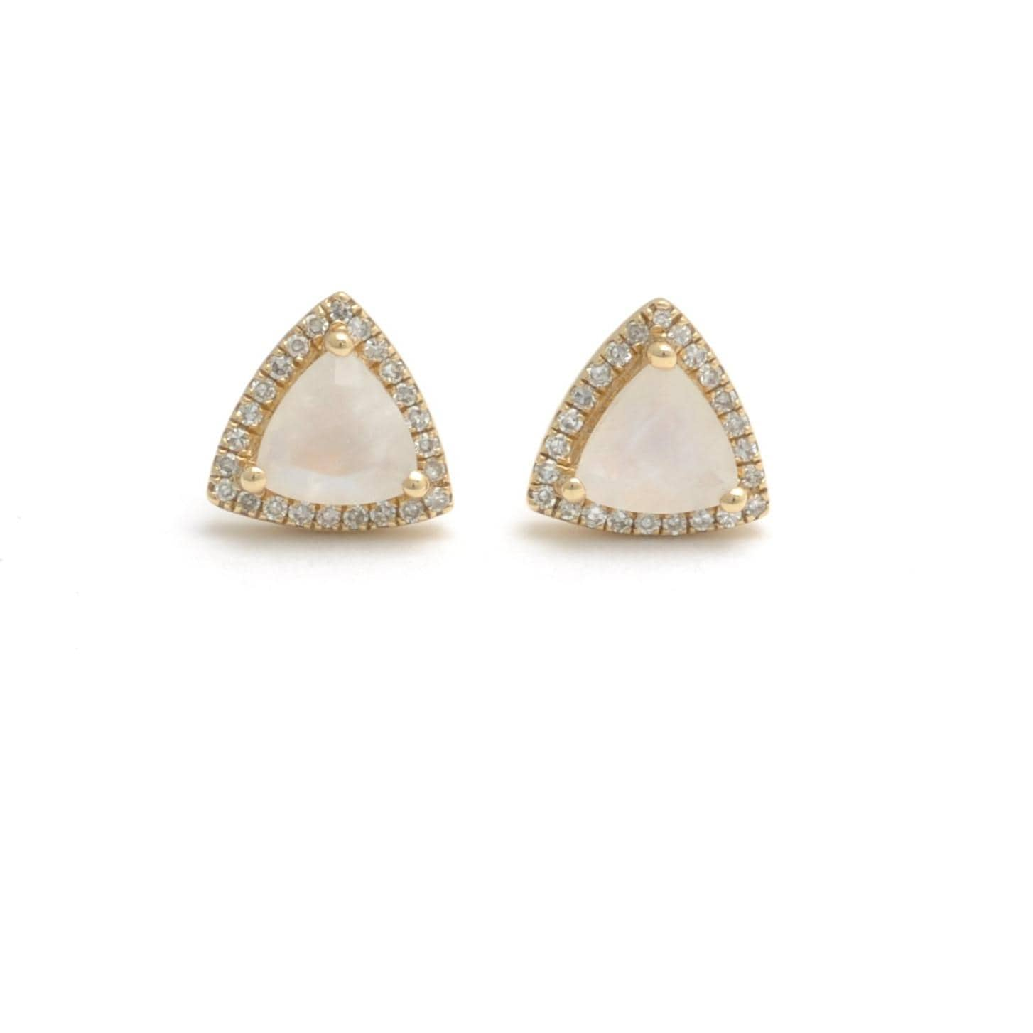 Trillion Moonstone Diamond Halo Earrings