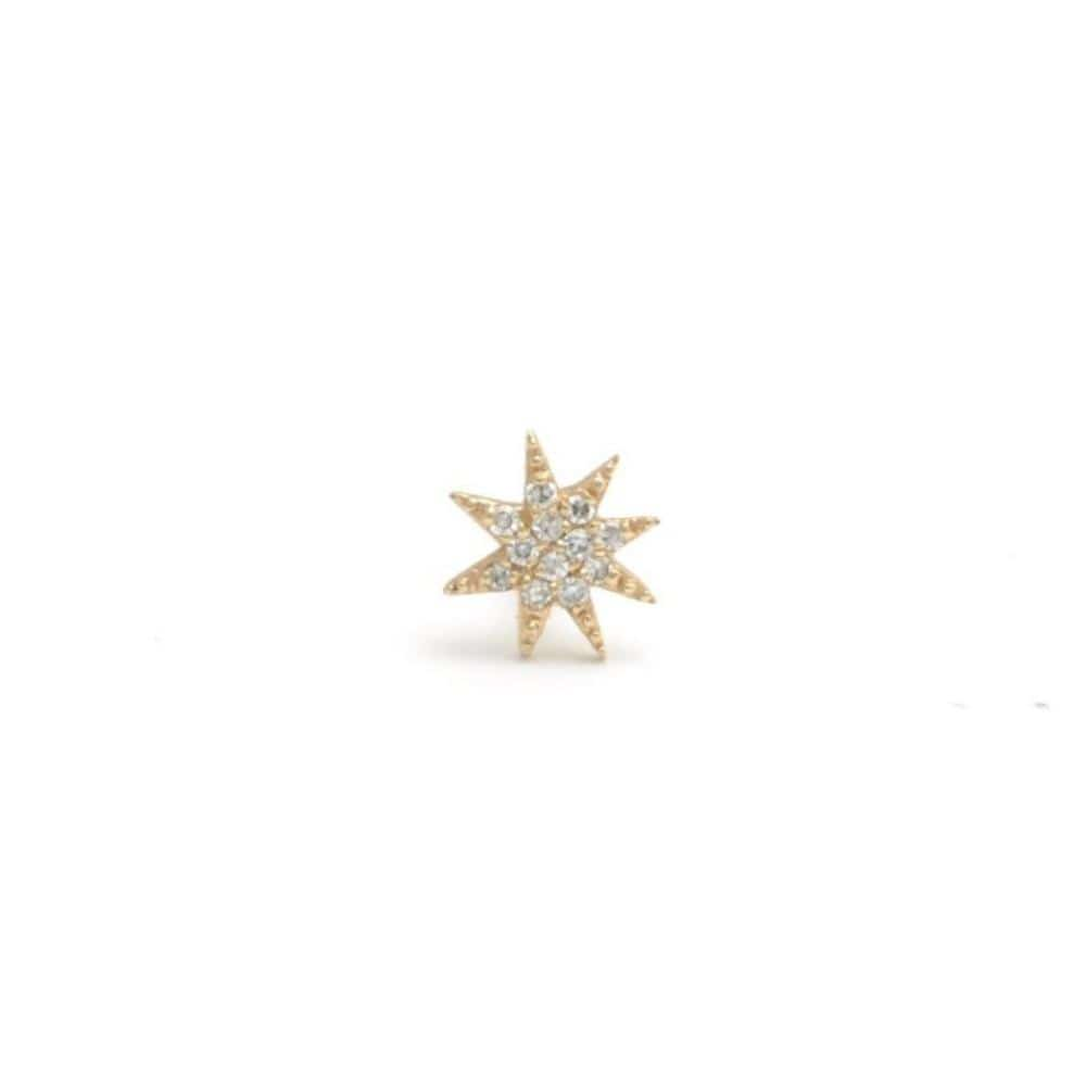 Small Diamond Starburst Yellow Gold Single Stud