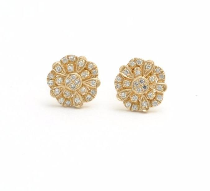Diamond Flower Yellow Gold Stud Earrings - Curated Los Angeles