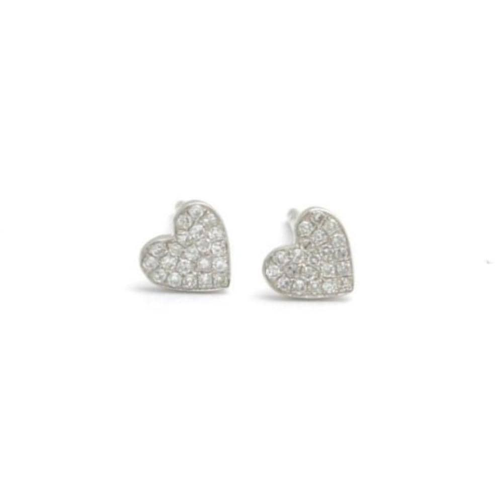 Diamond White Gold Heart Stud Earrings - Curated Los Angeles