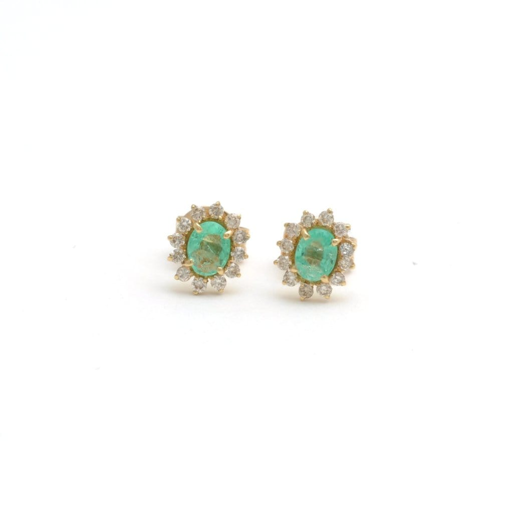 Emerald Diamond Halo 18k Gold Small Stud Earrings - Curated Los Angeles
