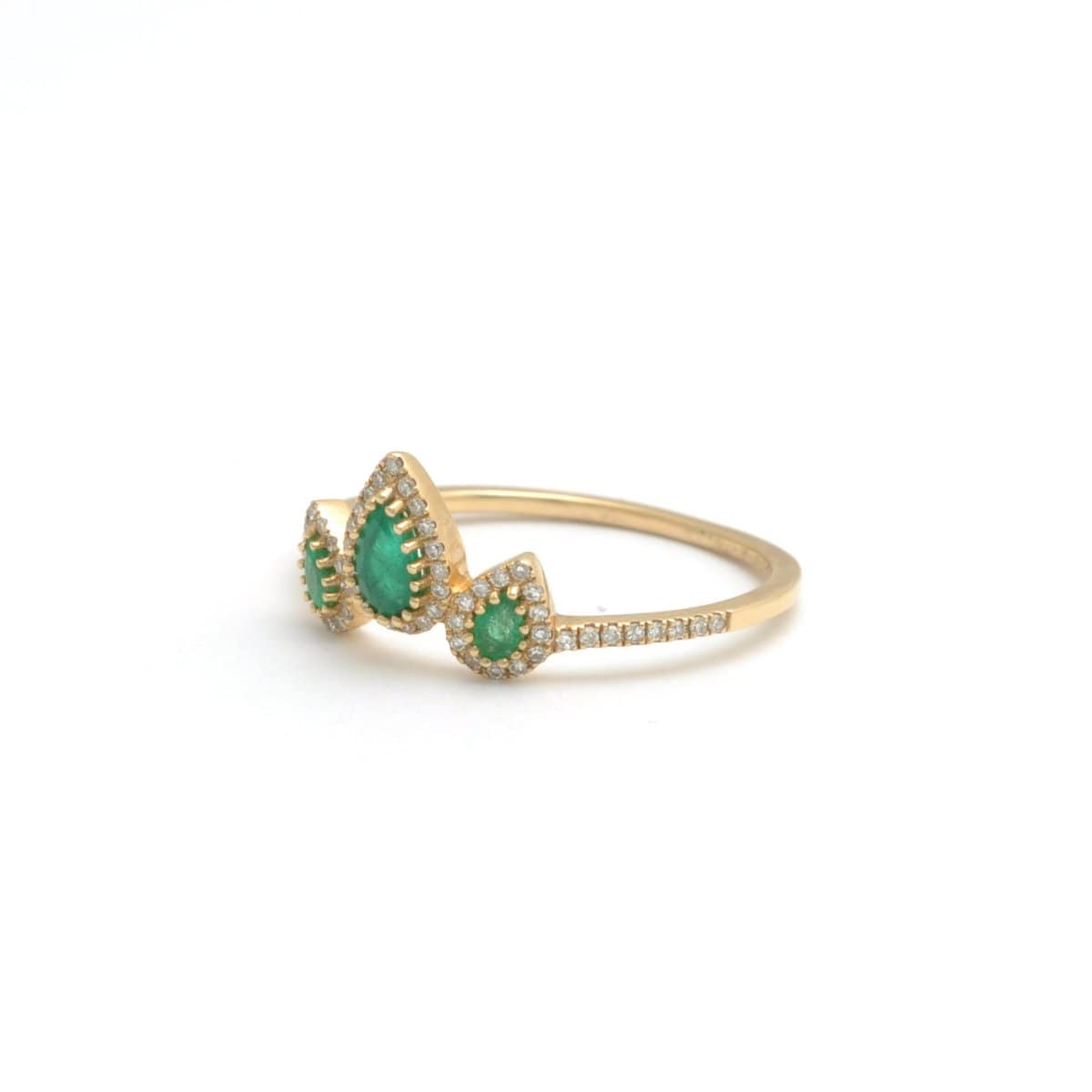 Triple Pear Shape Emerald Diamond Ring - Curated Los Angeles
