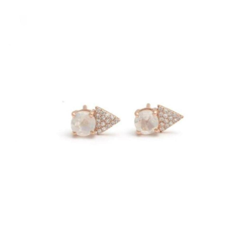 Moonstone Triangle Pave Diamond Stud Earrings - Curated Los Angeles