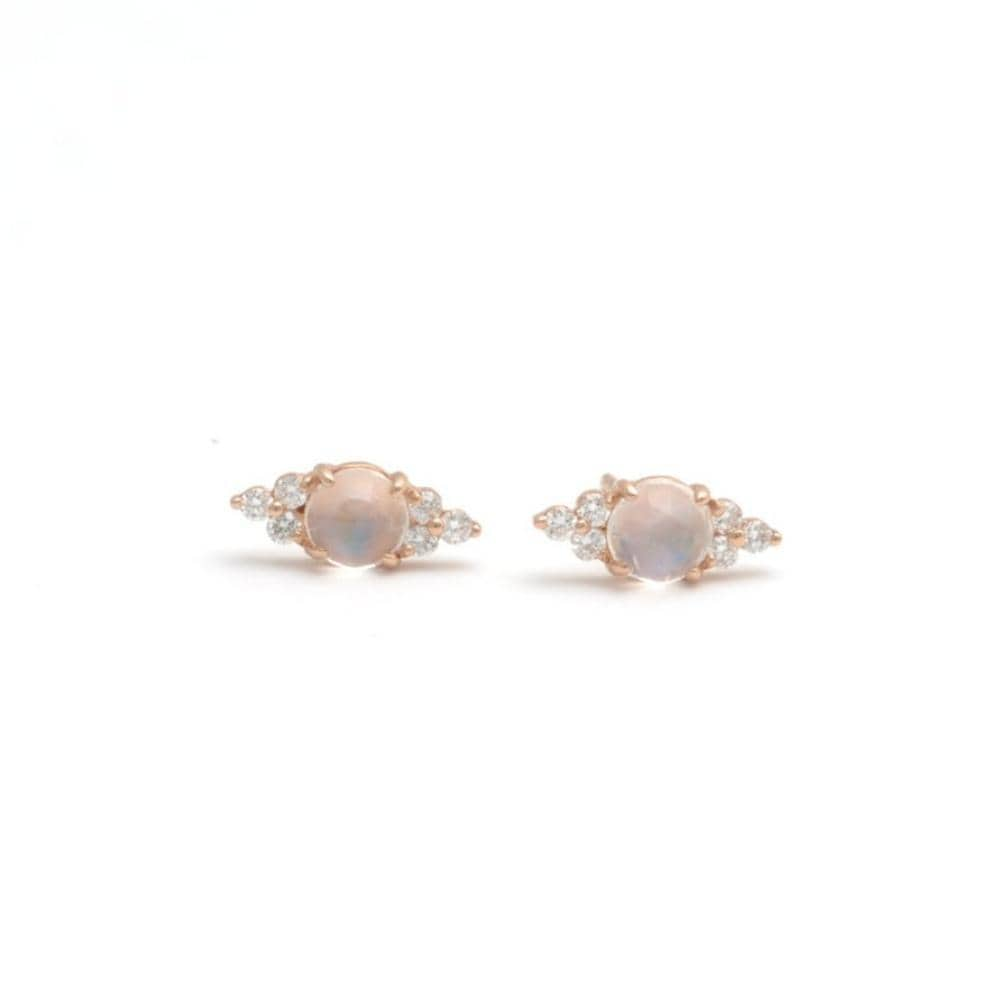 Moonstone Diamond Navette Shape Stud Earrings - Curated Los Angeles