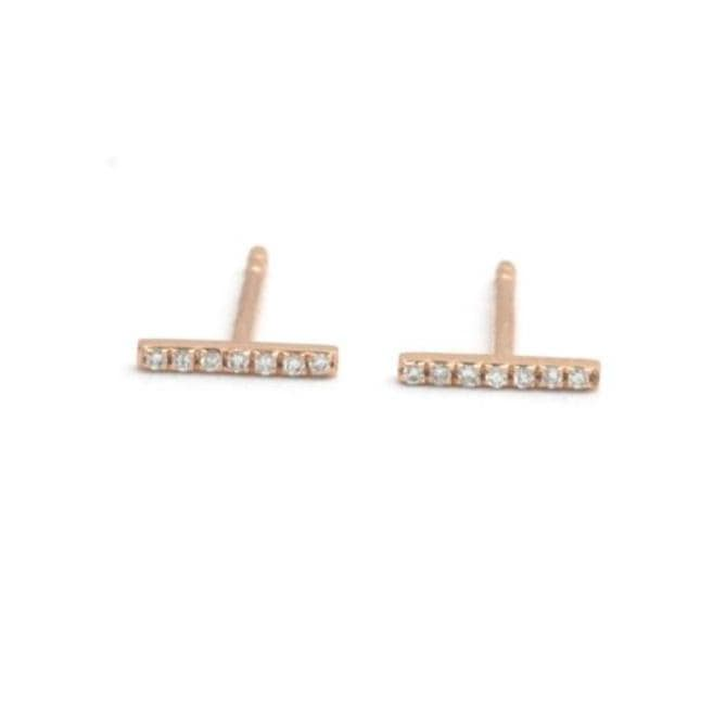 Diamond Pave Bar Stud Rose Gold Earrings - Curated Los Angeles