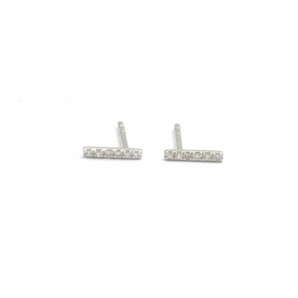 Diamond Pave Bar White Gold Earrings - Curated Los Angeles