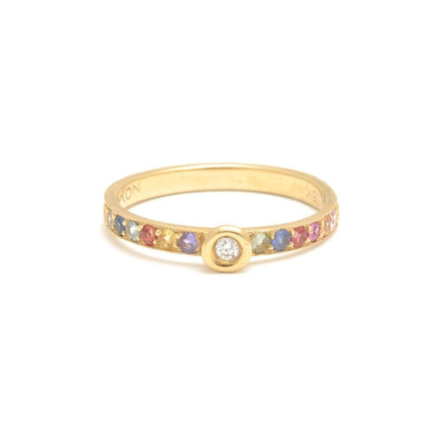 Multi-color Sapphire Yellow Gold Stacking Ring