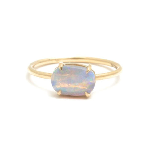 Oval Opal Yellow Gold Stacking Ring