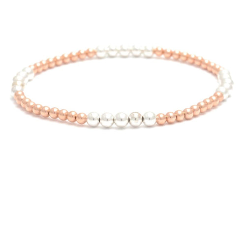 Silver and Rose Gold Beaded Bracelet