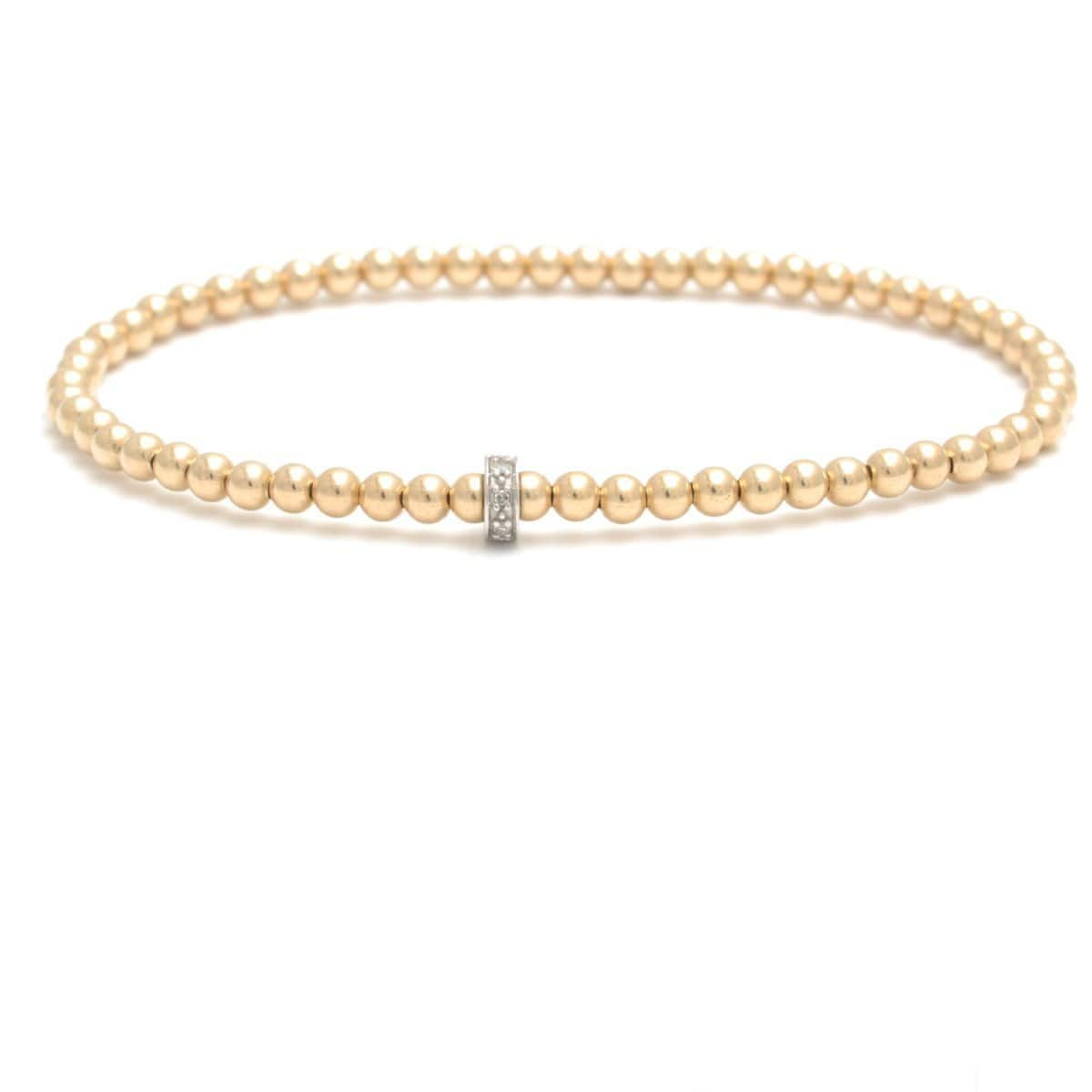 3mm Diamond Bead Yellow Gold Round Bead Bracelet