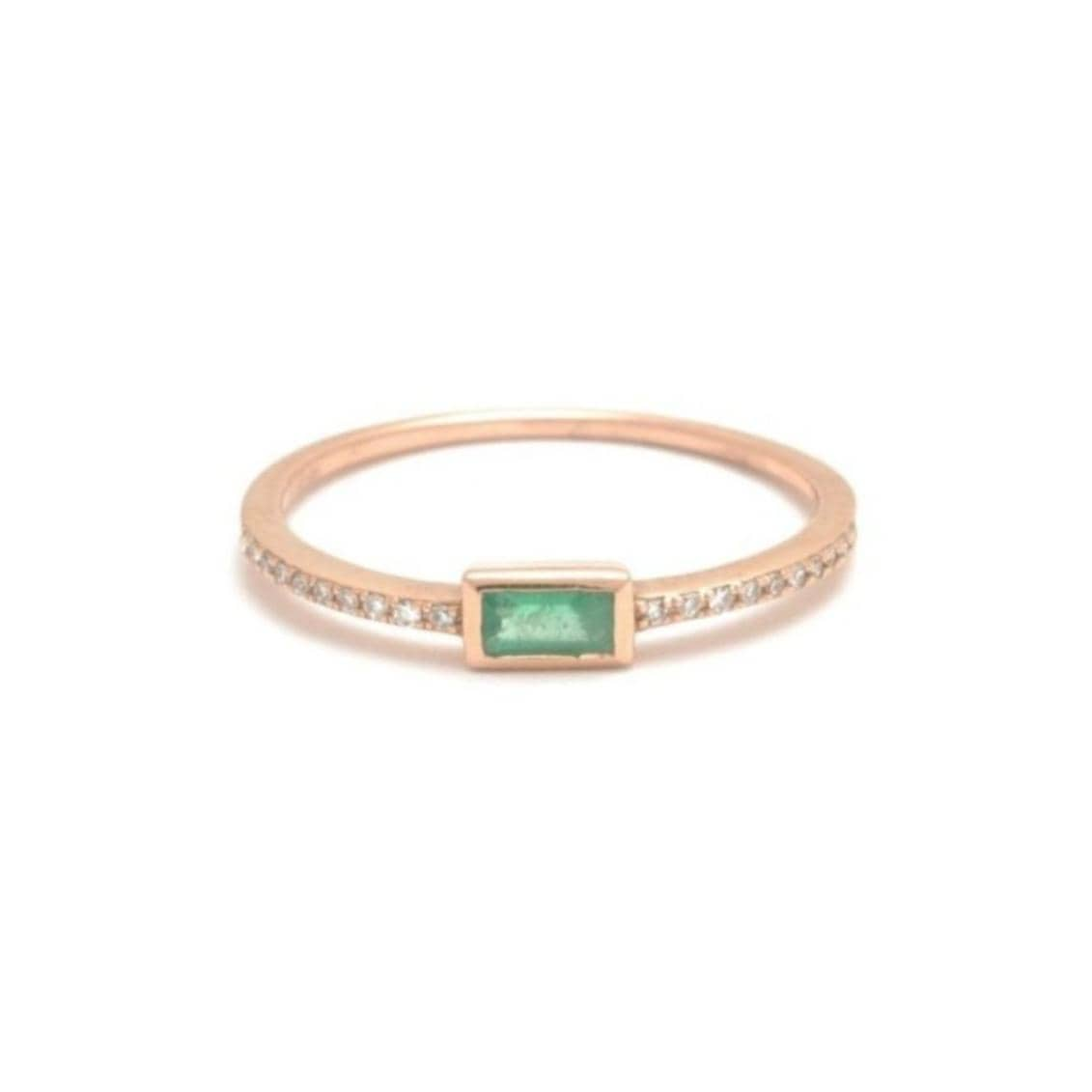 Emerald Baguette Ring with Diamonds in the Band