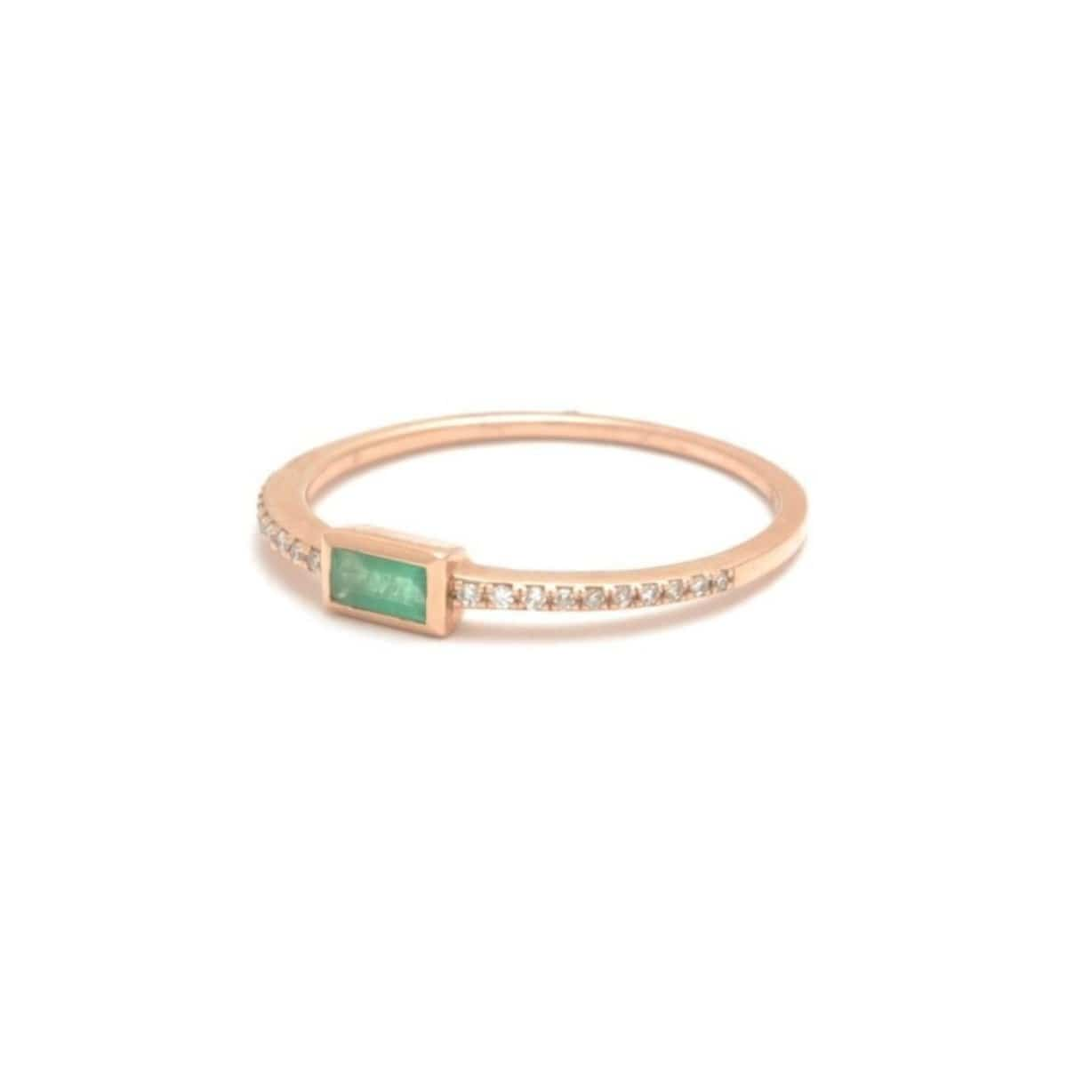 Baguette Emerald Pave Diamond Ring