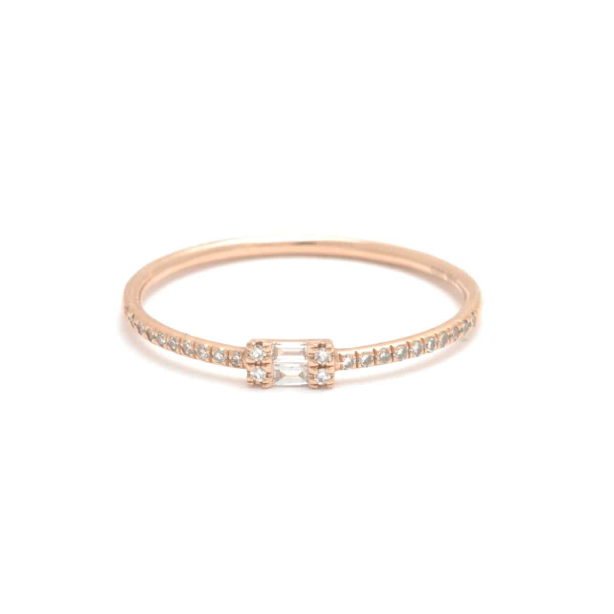 155052b79486f Double Baguette Pave Diamond Rose Gold Ring