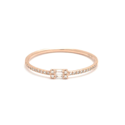Double Baguette Pave Diamond Rose Gold Ring