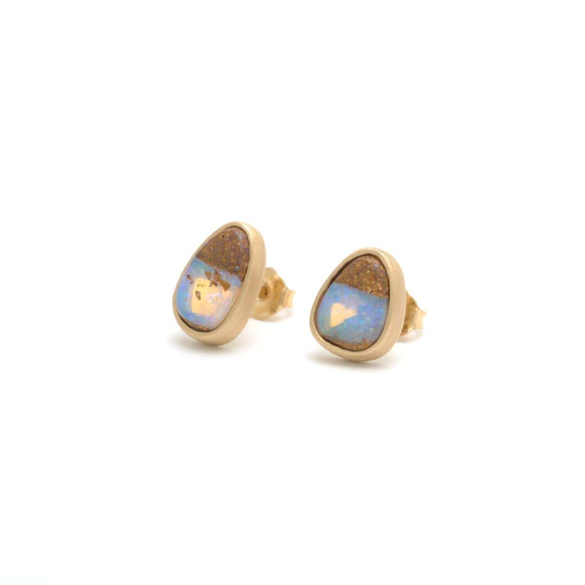 Opal Yellow Gold Studs