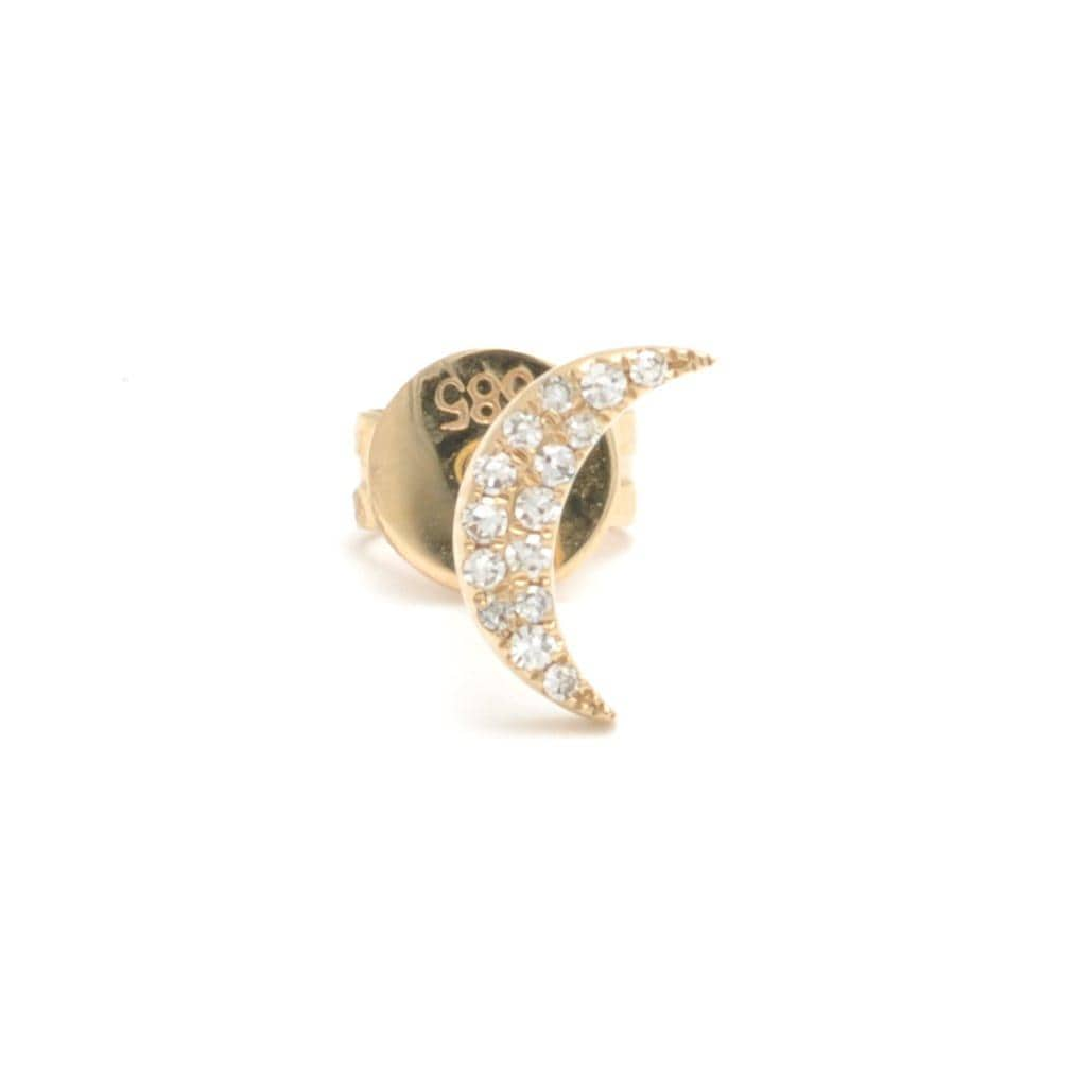 Small Diamond Moon Yellow Gold Single Stud