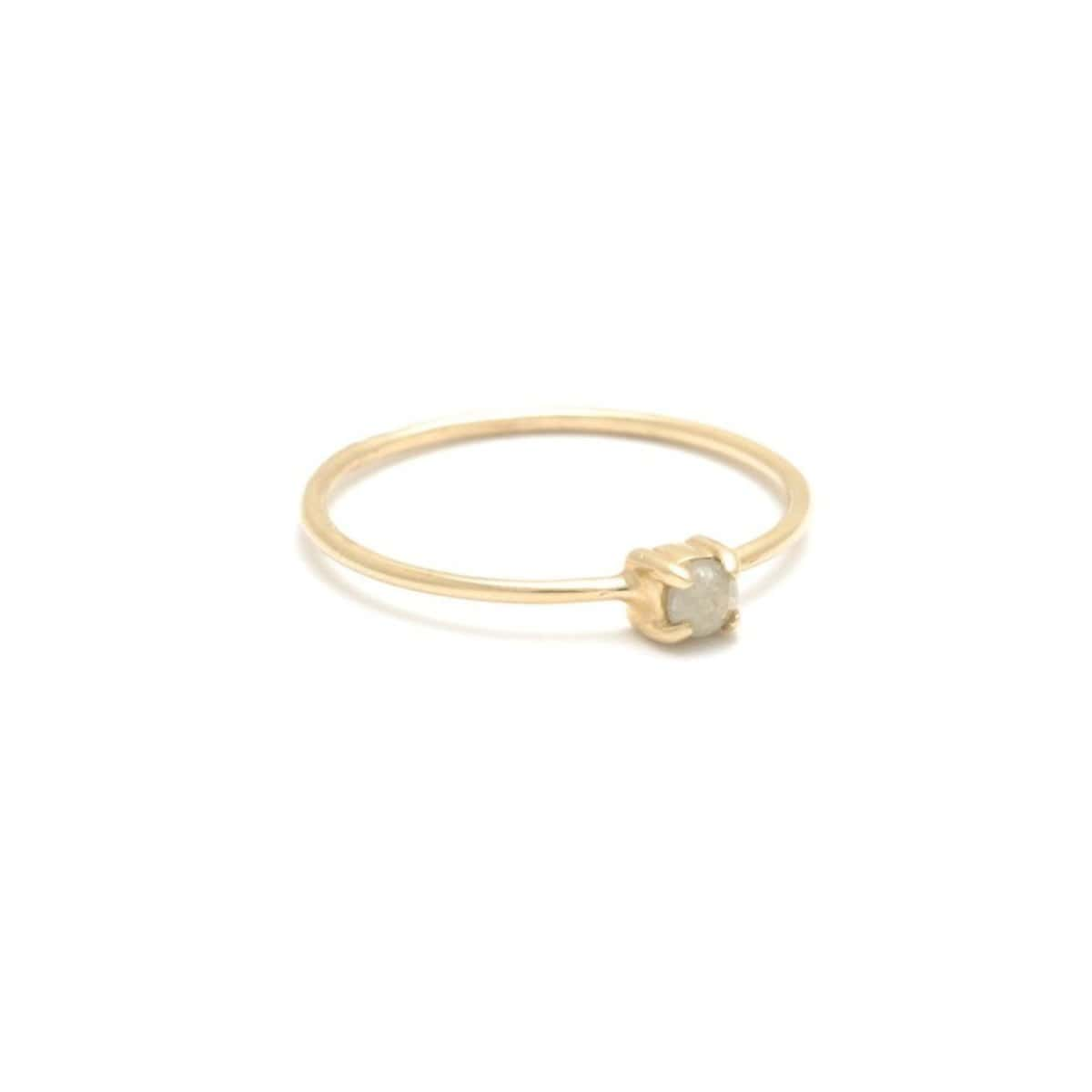 Rough Diamond Yellow Gold Solitaire Ring