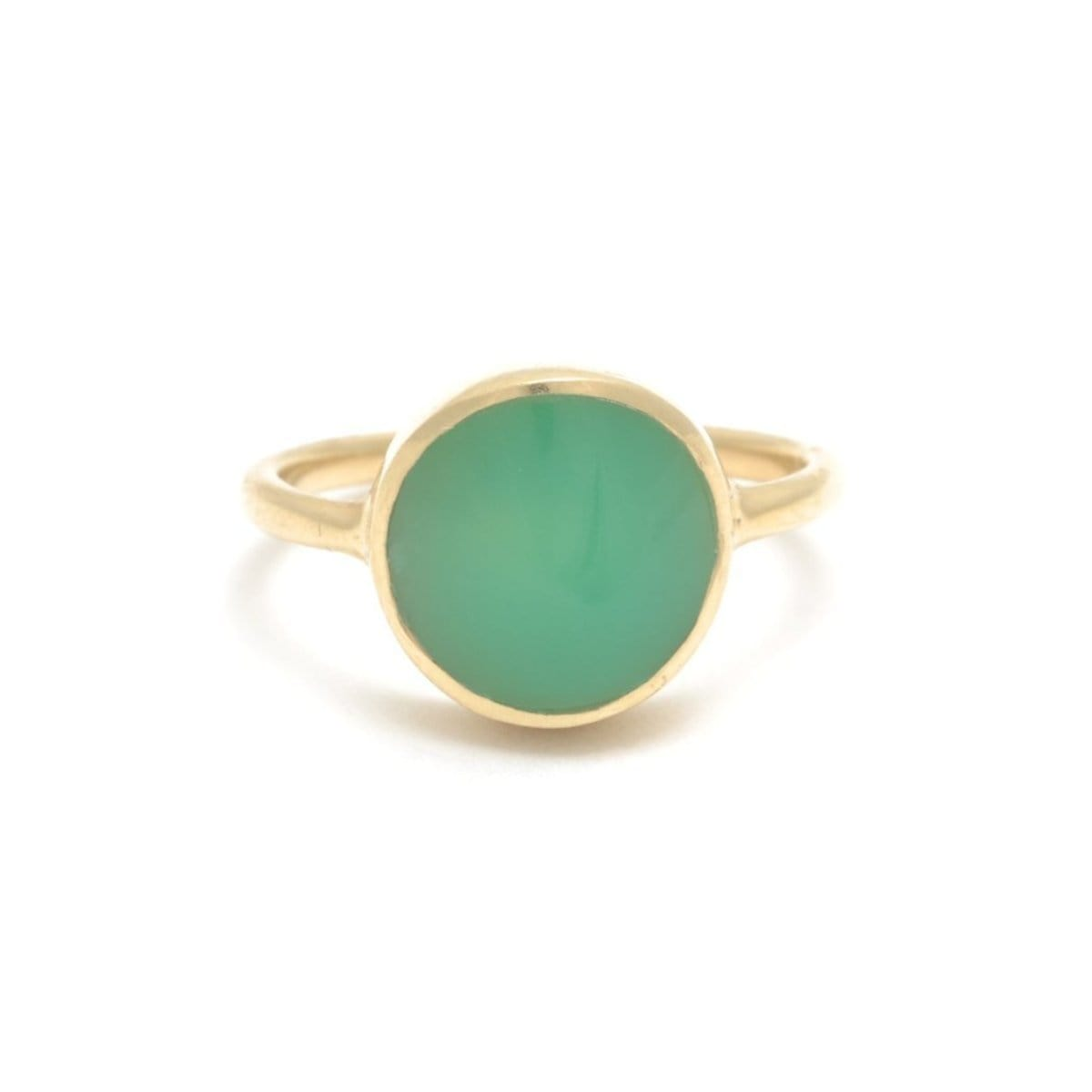 Inset Polished Chrysoprase Signet Ring
