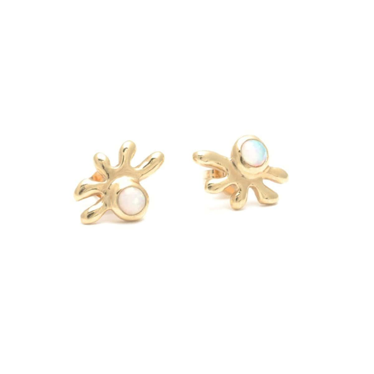 Opal Organic Shape 14k Yellow Gold Stud Earrings
