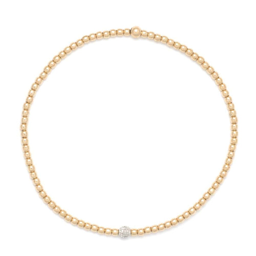 2mm 14k yellow gold and diamond beaded bracelet