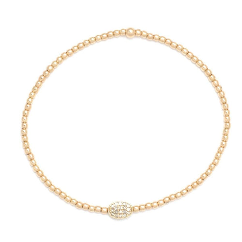 2mm Yellow Gold Diamond Bead Charm Bracelet