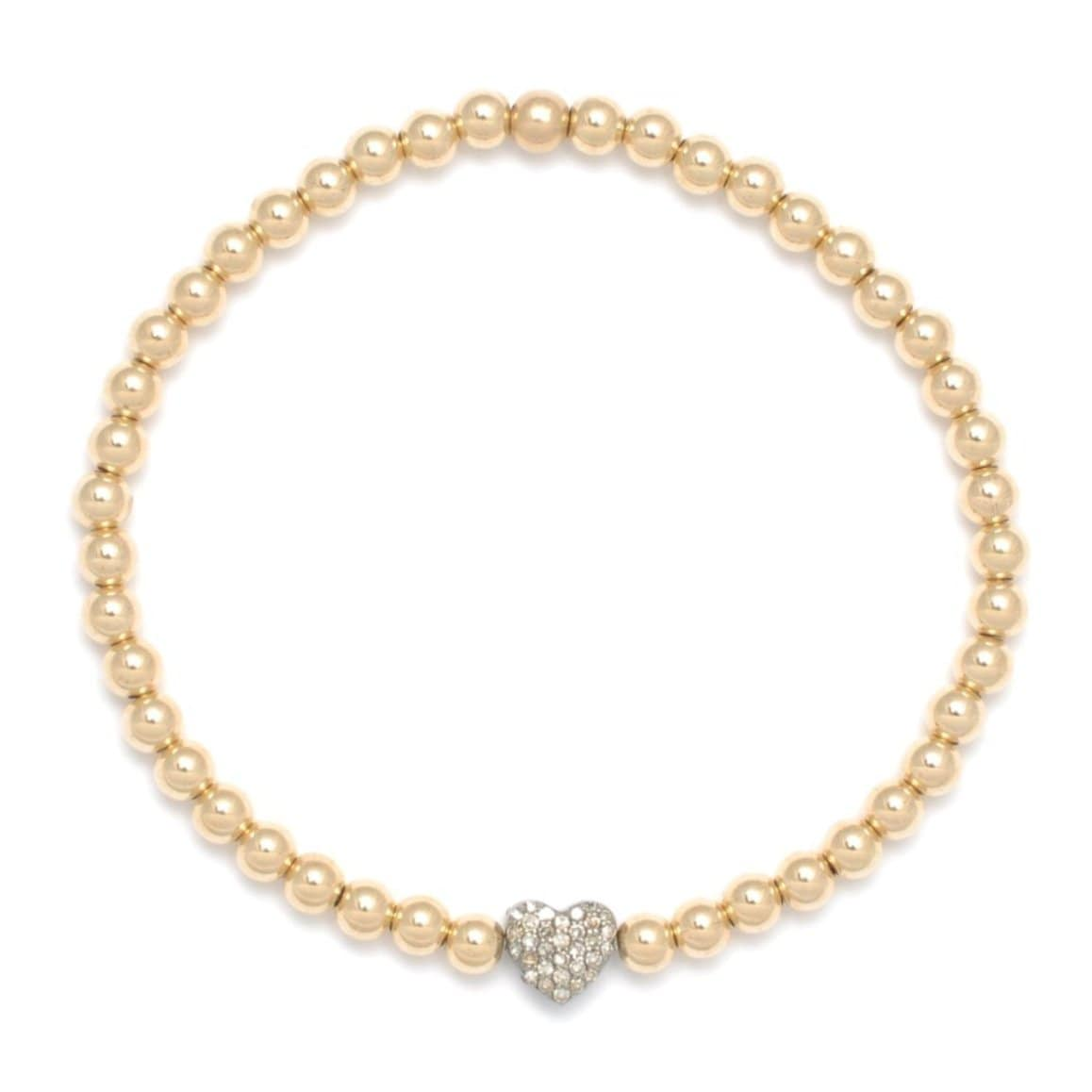 Diamond Heart Oxidized Yellow Gold Bead Bracelet