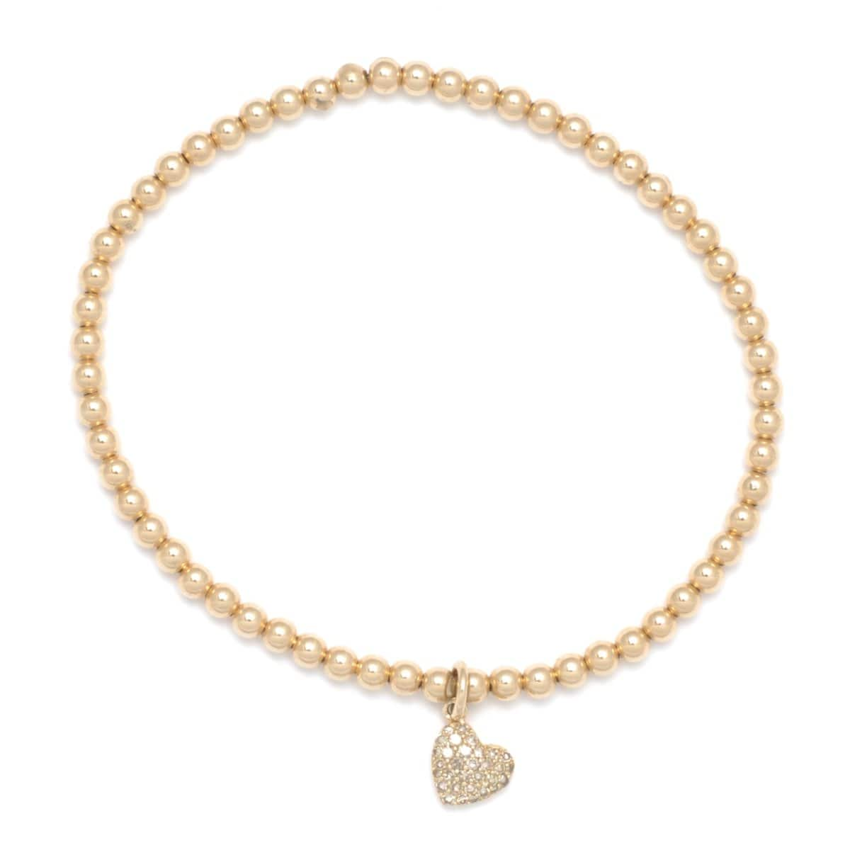 3mm Diamond Heart Charm Yellow Gold Stretch Bracelet