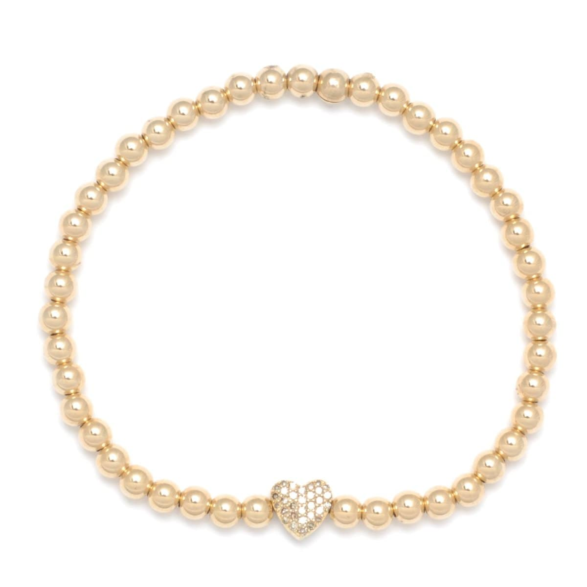 Diamond Heart Charm Gold Elastic Bracelet