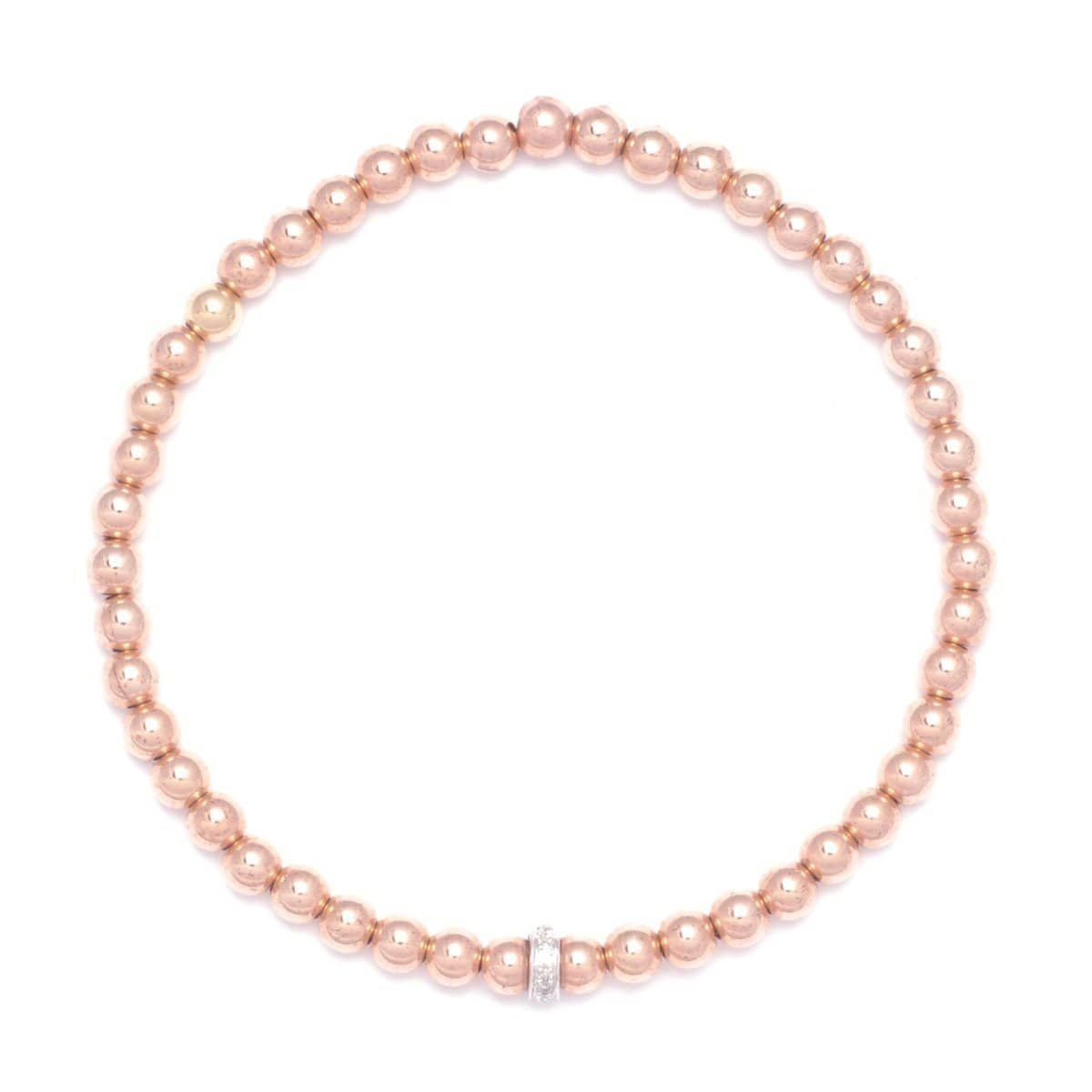 4mm Diamond Bead Rose Gold Bead Bracelet