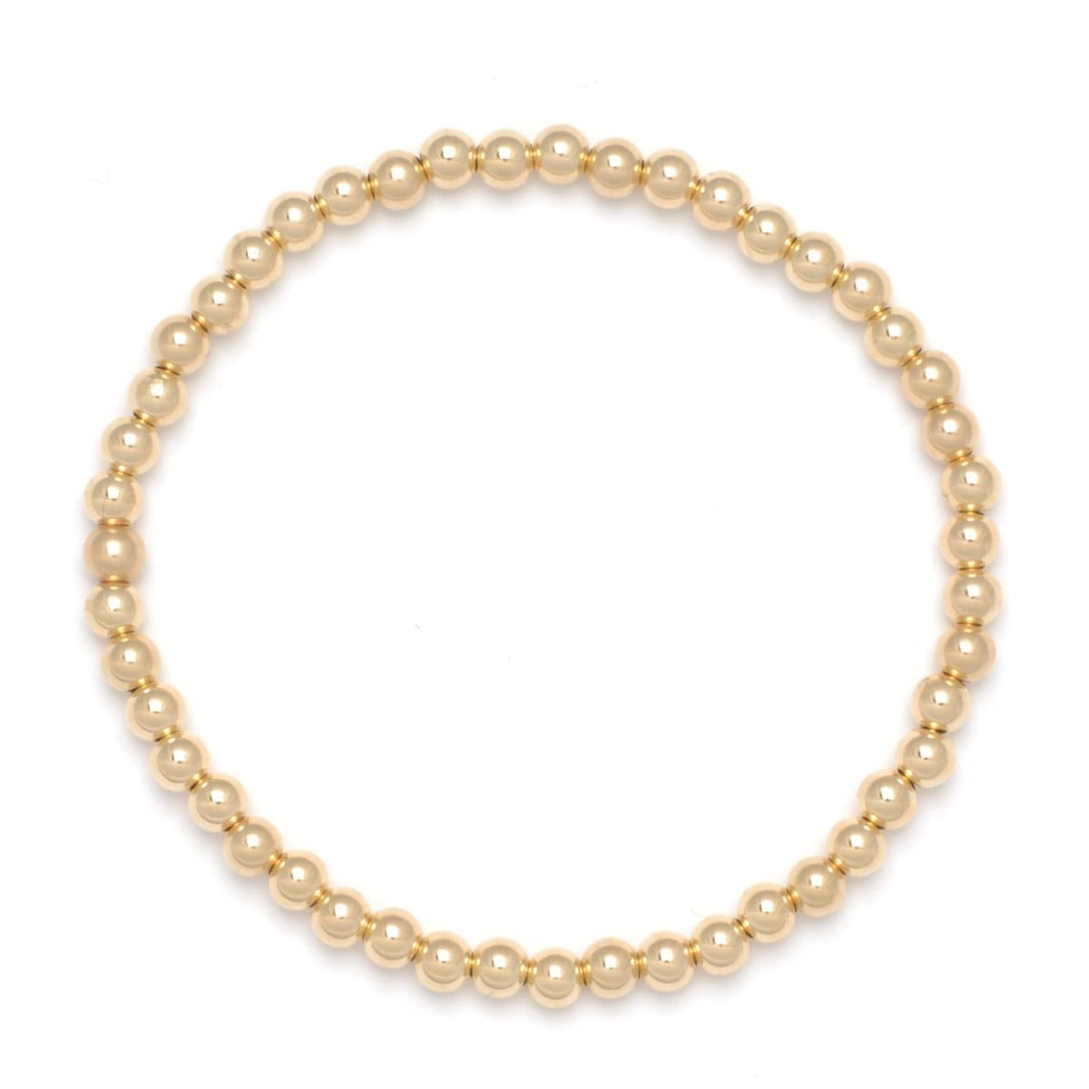 4mm yellow gold round beaded bracelet