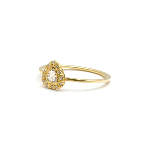 Rosecut Diamond with Diamond Frame Yellow Gold Ring