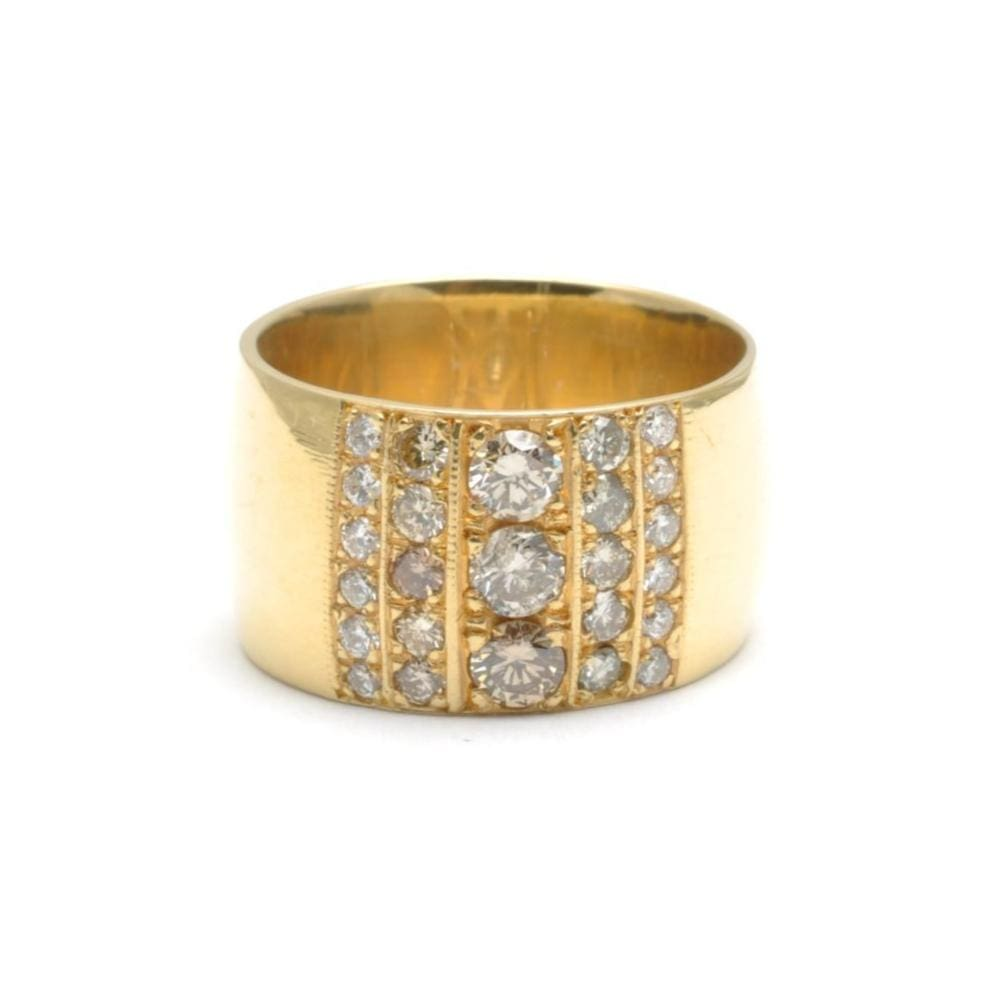 Diamond Cigar Band Yellow Gold Ring