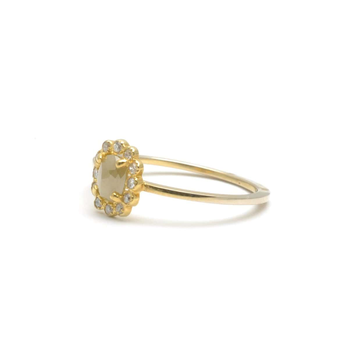 Rosecut Diamond with Diamond Halo Yellow Gold Ring