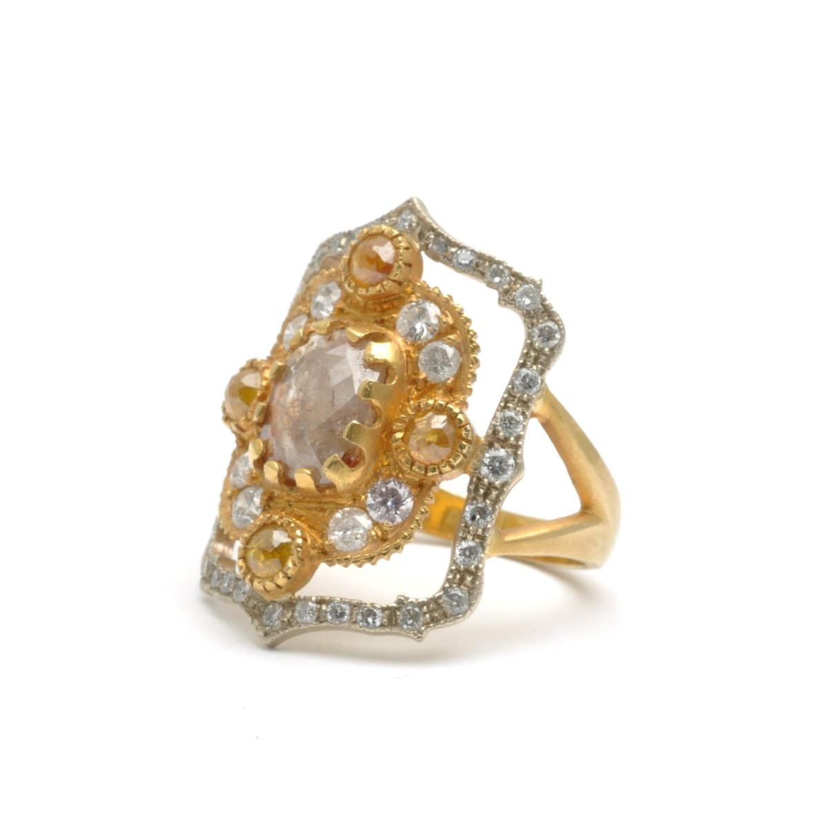 Rosecut Diamond with Pave Diamond Two-tone Gold Cocktail Ring