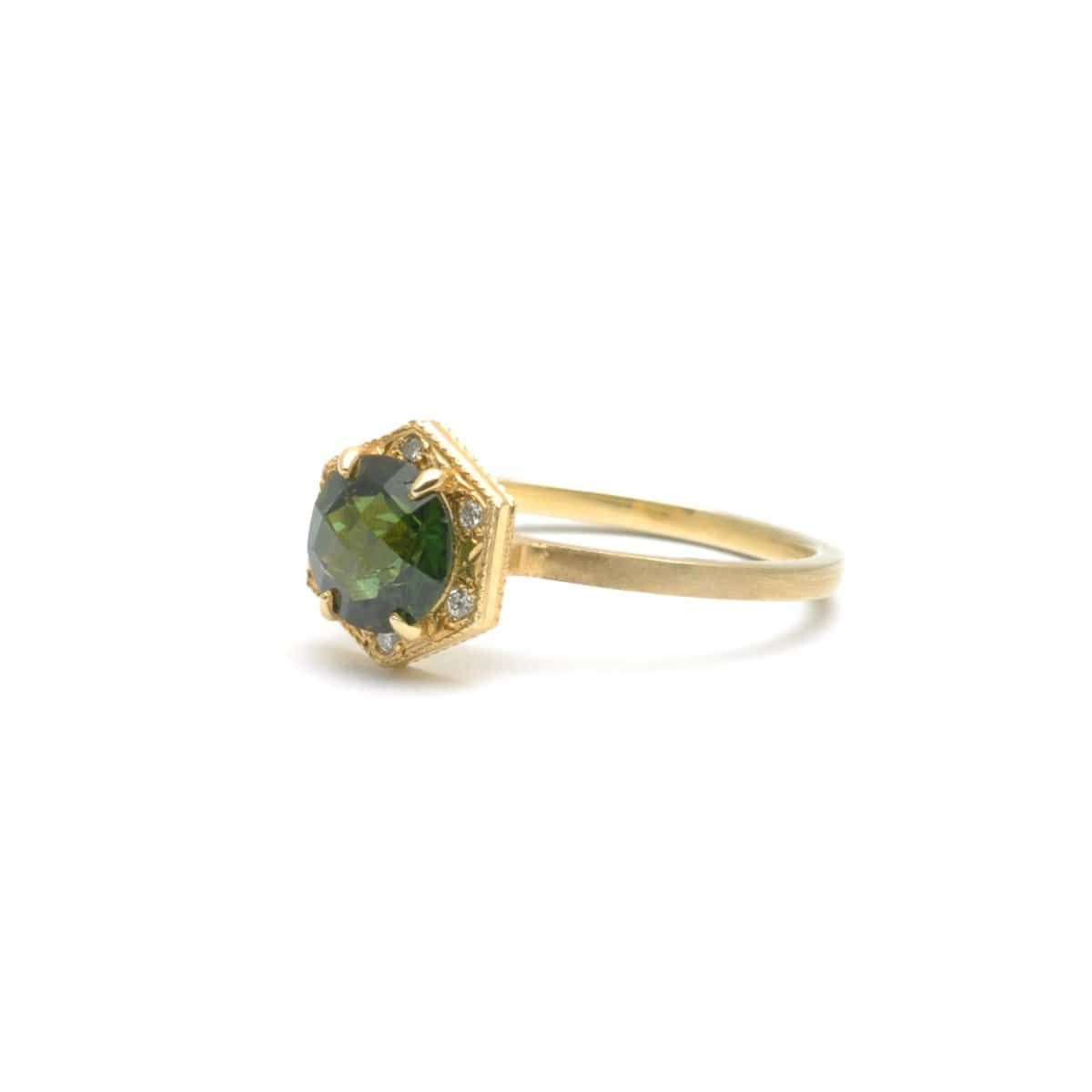 Dark Green Tourmaline with Diamonds Yellow Gold Ring