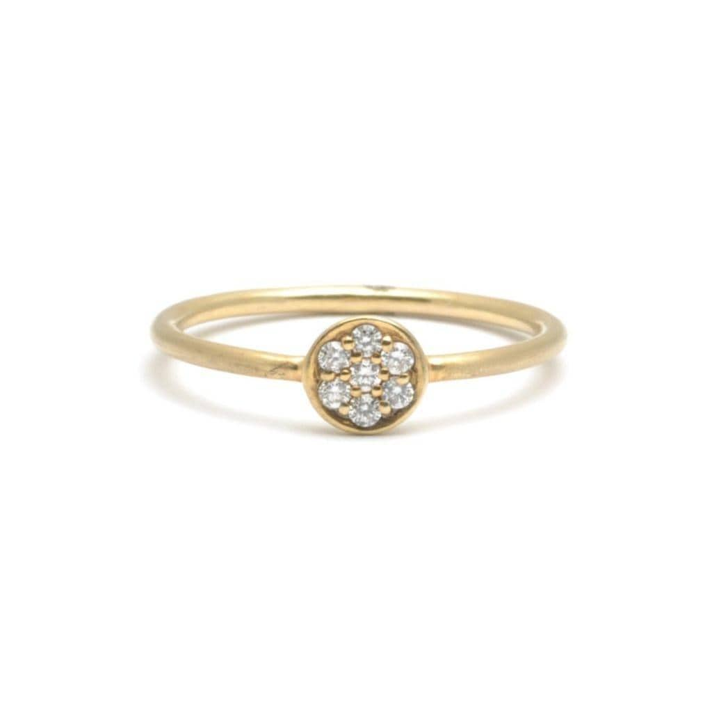 Diamond Disc Yellow Gold Ring
