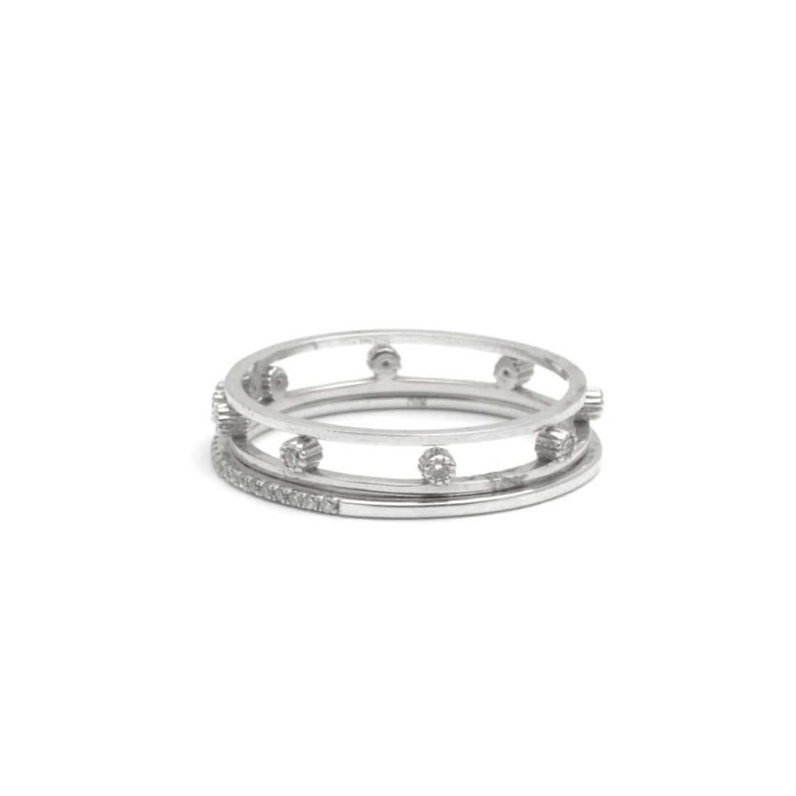8 Diamond Bezel Set White Gold Ring